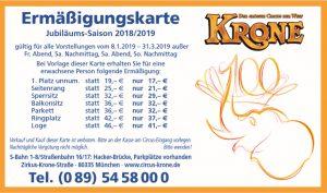Ermäßigungskarte Circus Krone